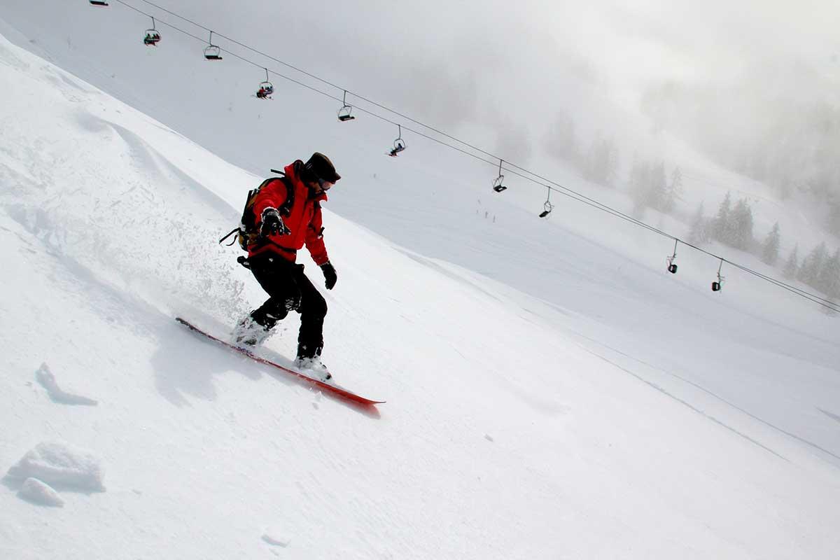 snowboarding down the mountain