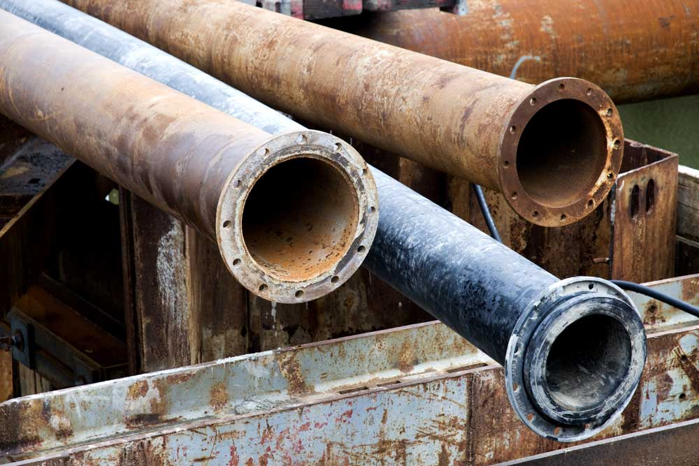 metal lead pipes stacked