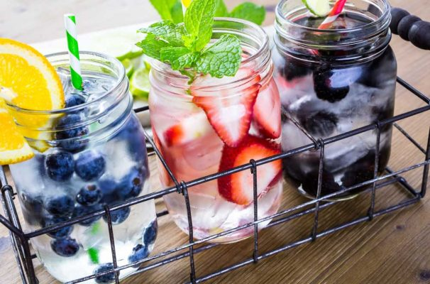 berries and fruit infused in water